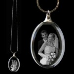 Engraved Oval Crystal Photo Necklace Pendant