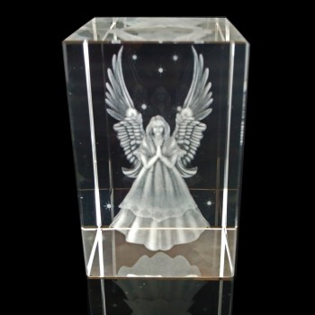 3D Guardian Angel Crystal Block Engraving