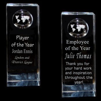 Crystal Globe Award (140 x 50 x 30mm)