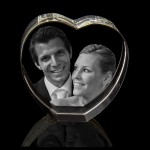 3D Heart up Laser Etched Photo Crystal (80 x 80 x 40mm)