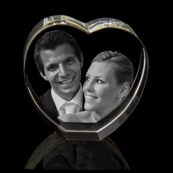 3D Heart up Photo Crystal (80 x 80 x 40mm)