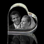 3D Heart on side Laser Etched Photo Crystal (80 x 80 x 40mm)